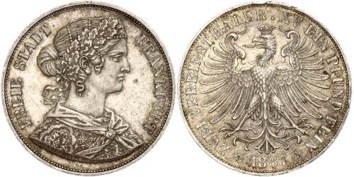 2 taler 1861 frankfurt ar